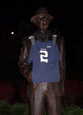 huge selection of 117b8 dd0ec Cam Newton jersey taped to Bear Bryant statue - National ...